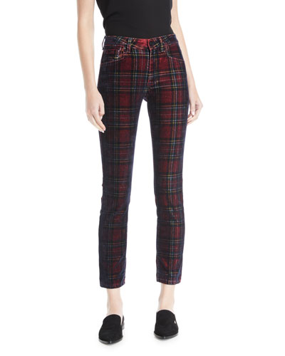 Kelly Velvet Plaid Skinny-Leg Pants