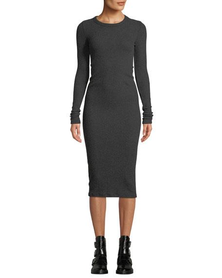 Enza Costa Ribbed Keyhole-Back Long-Sleeve Midi Dress