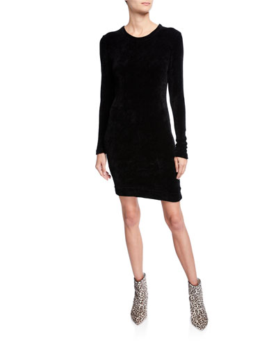 Slim Velour Long-Sleeve Sweatshirt Mini Dress