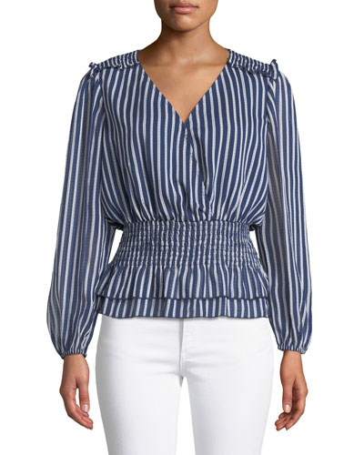 Rina Striped Smocked V-Neck Top