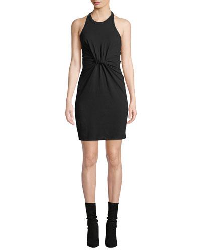 High-Neck Twist-Front Jersey Halter Dress