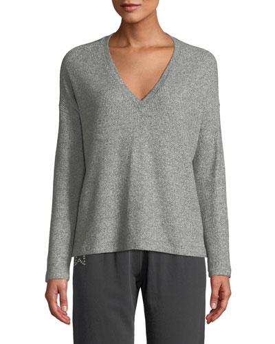 V-Neck Thermal Pullover Sweatshirt