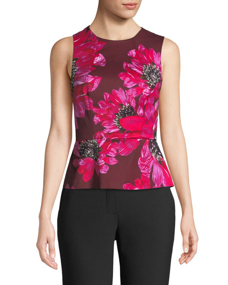 Trina Turk Milagro Floral-Print Peplum Top