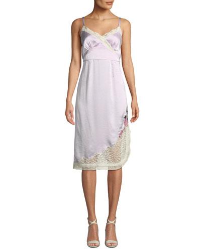 x Selena Gomez Slip Dress with Lace Trim