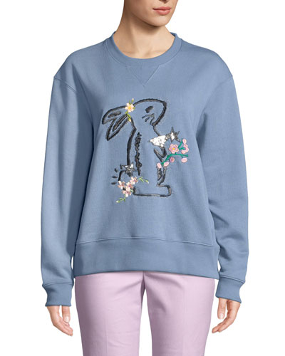x Selena Gomez Bunny Oversized Embroidered Sweatshirt