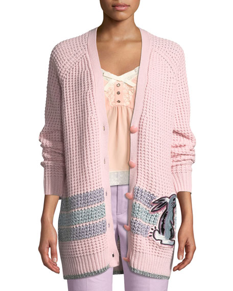 Coach x Selena Gomez Embroidered Wool-Blend Cardigan
