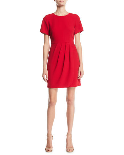 Lynndalyn Pleated Short-Sleeve Mini Dress