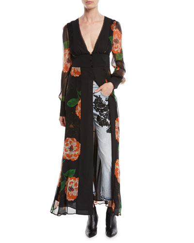 Mapplethorpe Plunging Floral-Print Duster Dress
