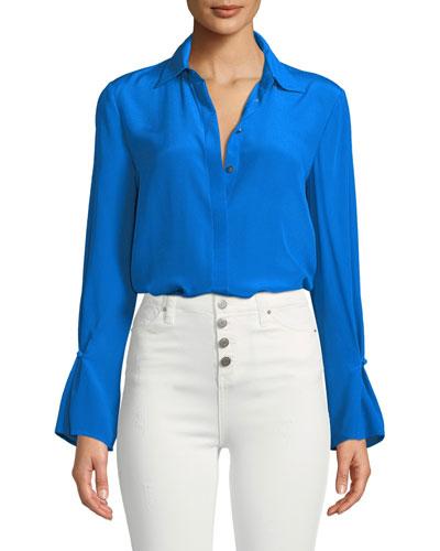 Gaelinda Button-Front Silk Top