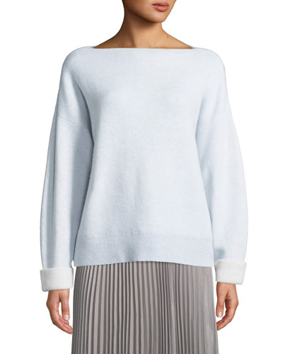 Donah Cashmere Boat-Neck Pullover Sweater