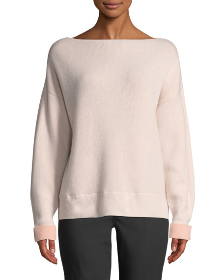 CLUB MONACO Donah Boat-Neck Cashmere Pullover Sweater in Pink Pattern