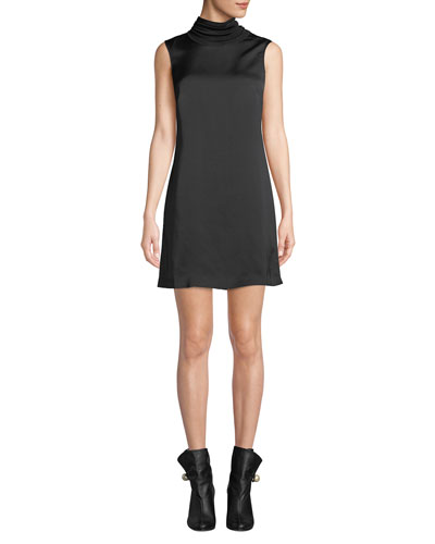 Jourdan Sleeveless Satin Turtleneck Short Dress