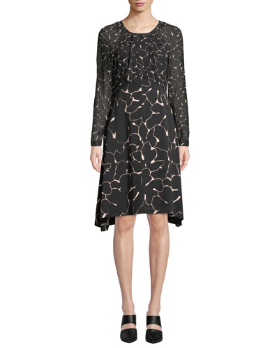 Rokinsa Floral Long-Sleeve Silk Dress