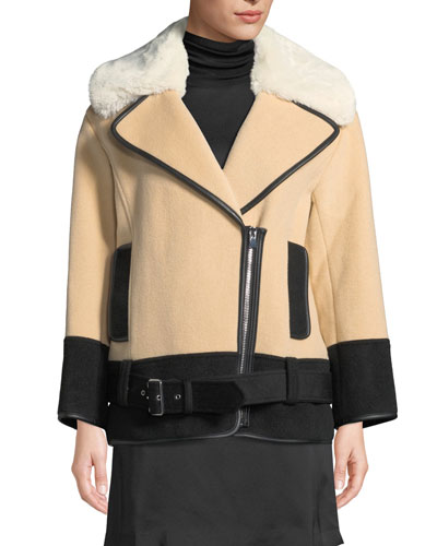 Rismah Zip-Front Wool Coat with Faux-Fur Collar