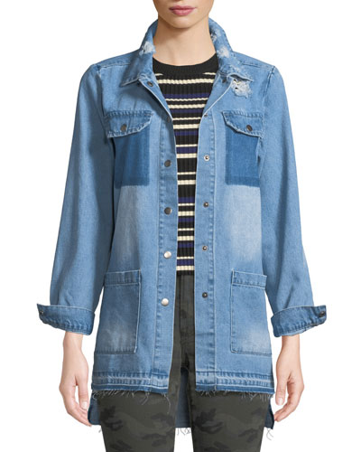Distressed Snap-Front Denim Shirt