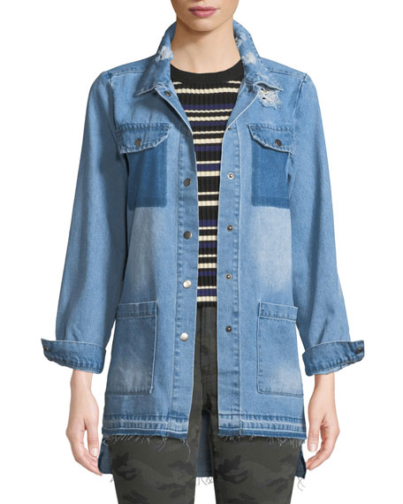 ETIENNE MARCEL Distressed Snap-Front Denim Shirt in Blue