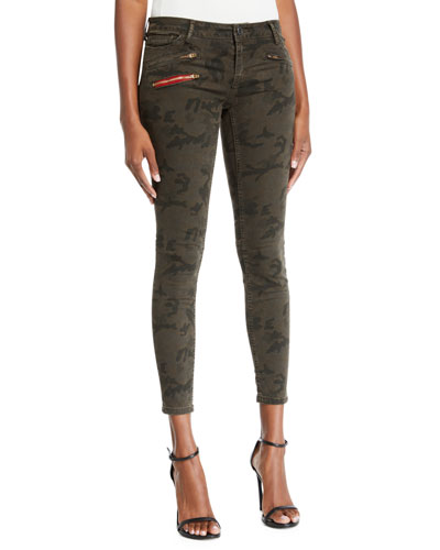 Camo-Print Cropped Skinny Jeans
