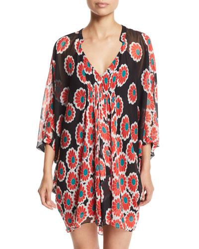 Fleurette Floral Silk Shirred Coverup Dress