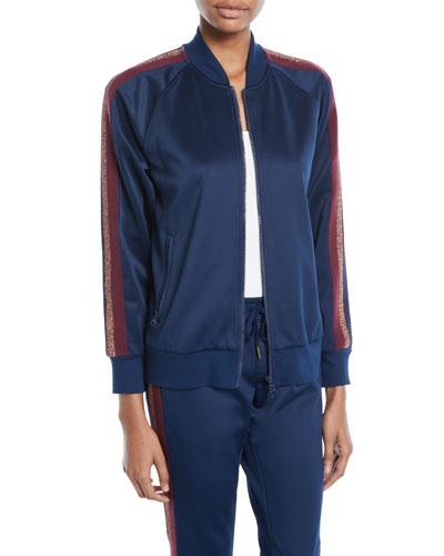 Zip-Front Track Jacket w/ Metallic Stripes