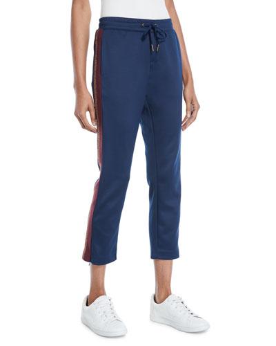Cropped Drawstring Sweatpants w/ Metallic Stripes