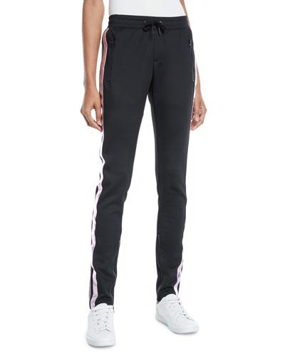 Sporty Drawstring Cigarette Pants w/ Racer Stripes