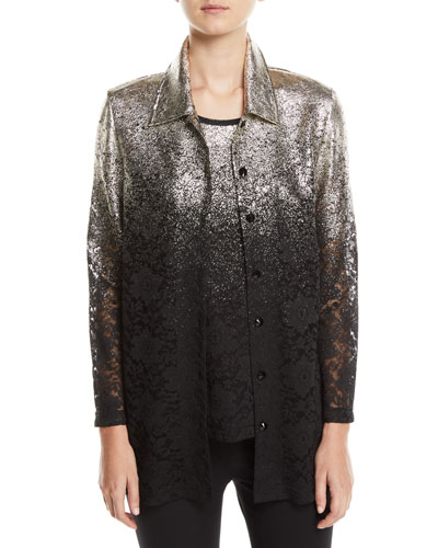 Plus Size Speckle-Border Easy Shirt Jacket with Lace
