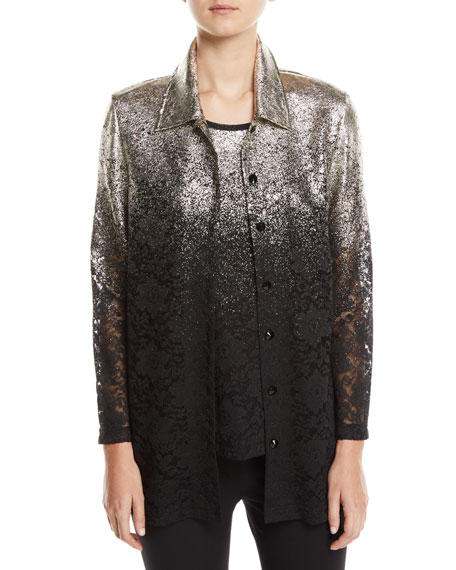 BEREK Speckle-Border Easy Shirt Jacket With Lace, Plus Size in Multi