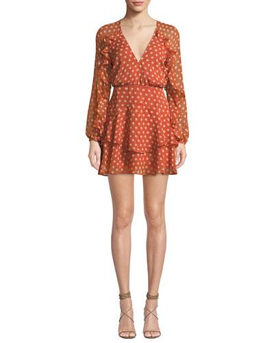 Love Token Polka-Dot Ruffle Short Dress