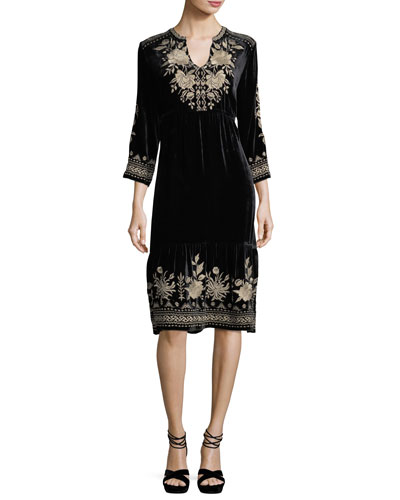 Magdalene 3/4-Sleeve Embroidered Velvet Dress, Petite