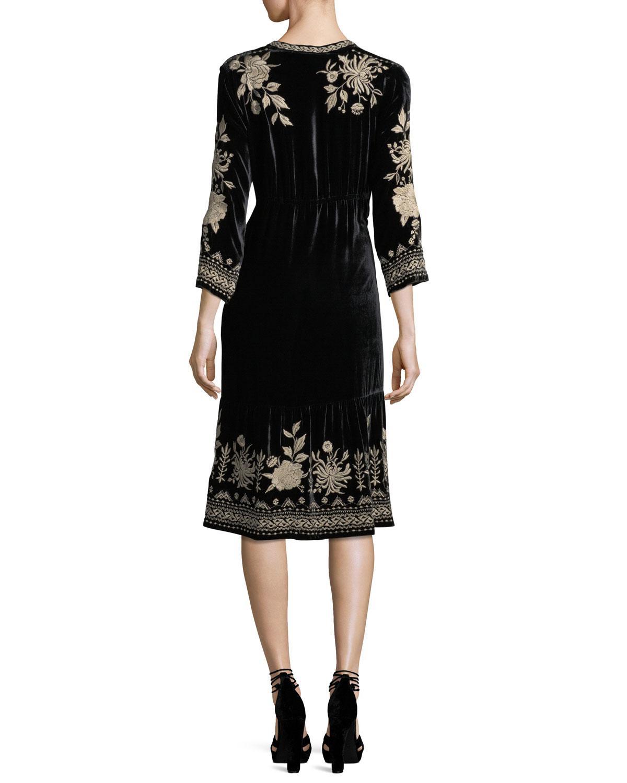 3da97862b38 Johnny Was Magdalene 3 4-Sleeve Embroidered Velvet Dress