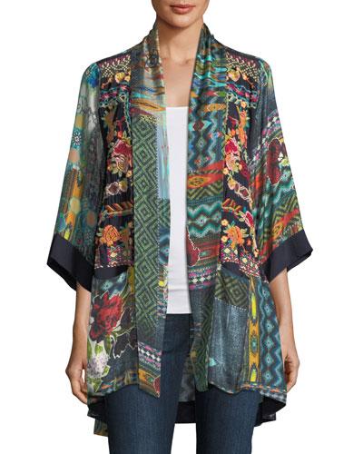 Koben Canvas Embroidered Twill Kimono, Petite