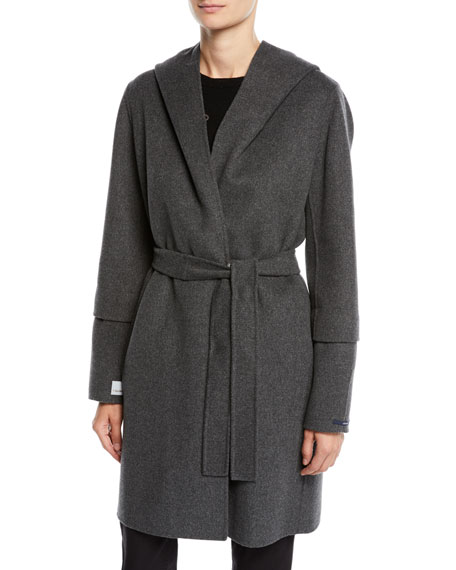 Here Is The Cube Collection Reversible Hooded Wool Coat in Gray Pattern