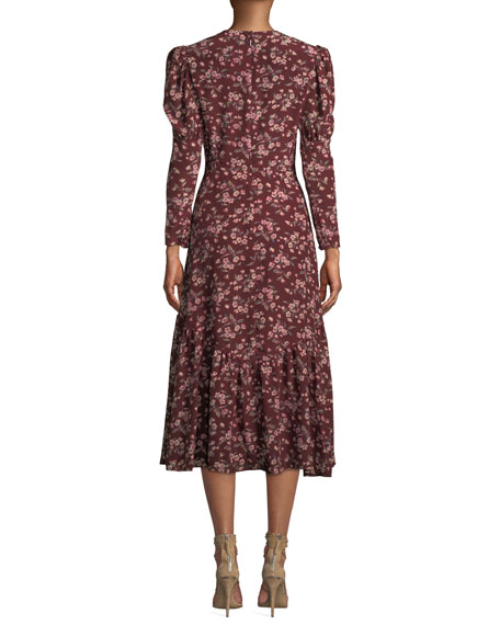 Tilda Puff-Sleeve Floral Midi Dress