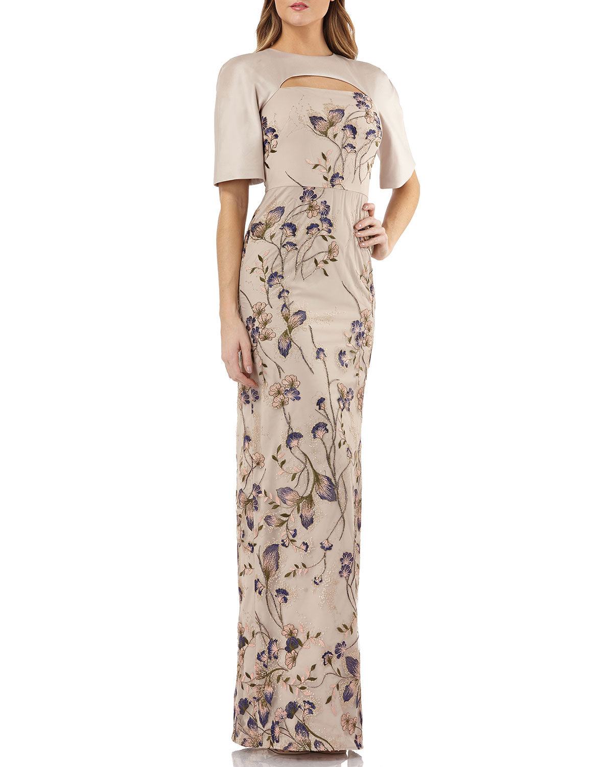Kay Unger New York Cutout Mikado & Lace Gown w/ Sequin Embroidery ...