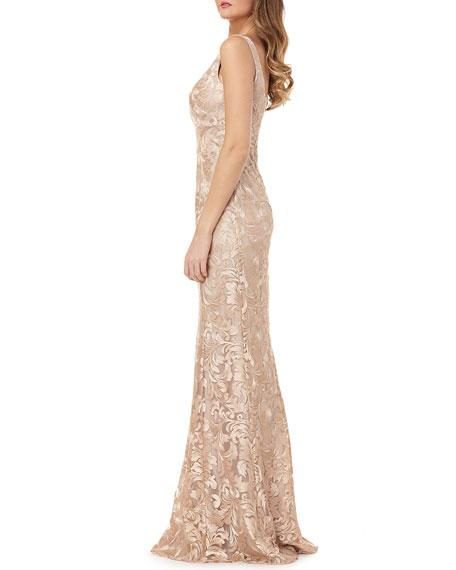 Metallic Lace Sleeveless Mermaid Gown