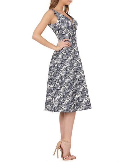 Stretch Metallic Jacquard Gown w/ Brooch