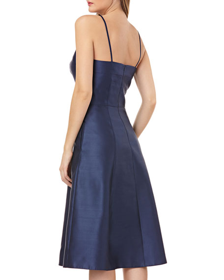 Fit-and-Flare Halter Dress w/ Beading