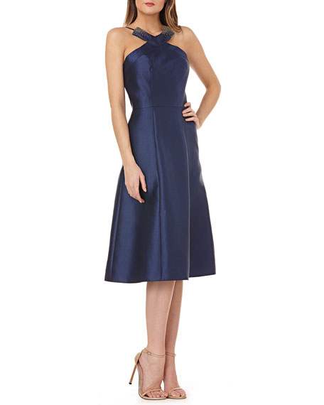 Kay Unger Fit-and-Flare Halter Dress w/ Beading