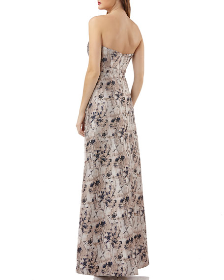 Metallic Jacquard Gown w/ Floral Overlay