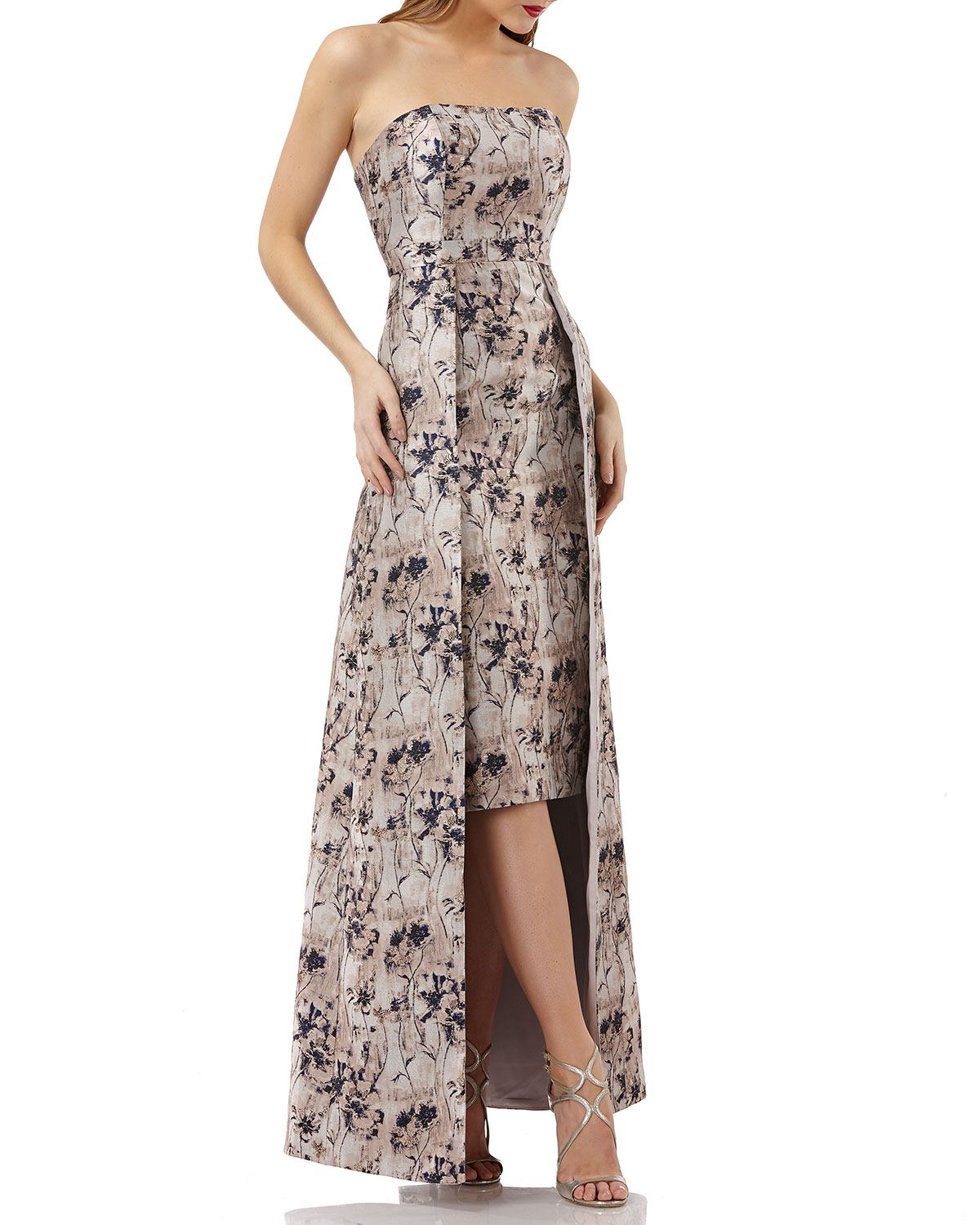 Kay Unger New York Metallic Jacquard Gown w/ Floral Overlay | Neiman ...