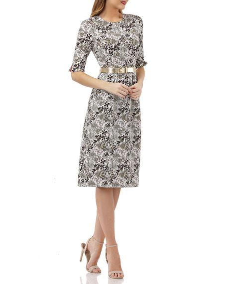 Kay Unger STRETCH JACQUARD BELTED DRESS W/ POCKETS