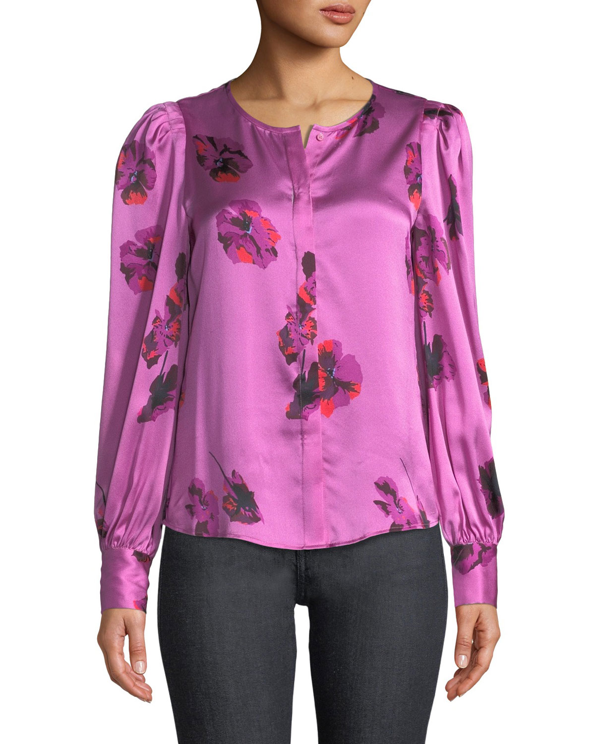 0e49ed9bb7 Joie Antonela Button-Front Long-Sleeve Floral-Print Satin Top ...