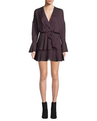 Marcel Long-Sleeve Houndstooth Mini Dress
