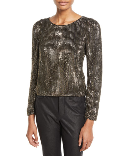 Bailyn Studded Long-Sleeve Top