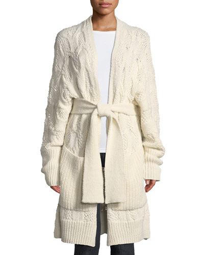 Omeed Belted Cable-Knit Wool-Blend Cardigan