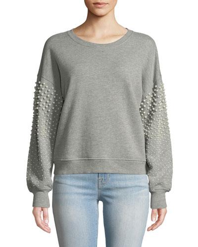 Sanceska Pearly-Stud Cotton Sweatshirt