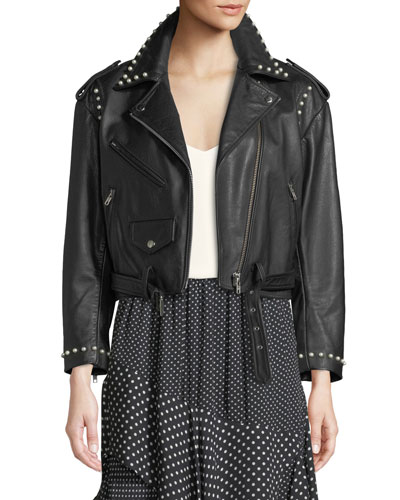 Humla Zip-Front Pearlescent-Stud Moto Lamb Leather Jacket