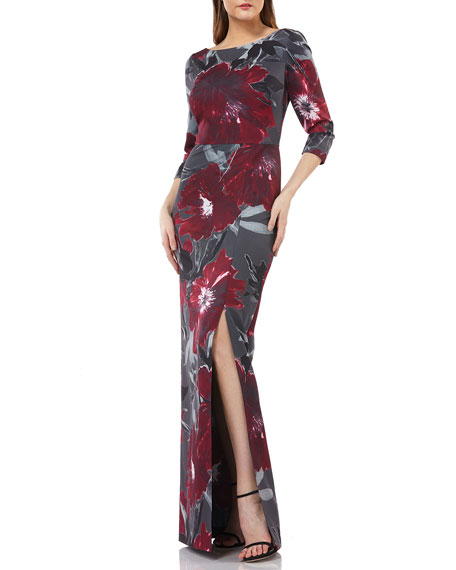 Kay Unger Bateau-Neck Floral Dress in Stretch Crepe