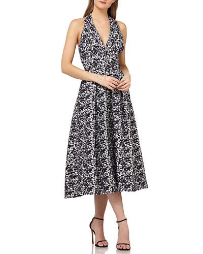 Halter Dress in Stretch Jacquard