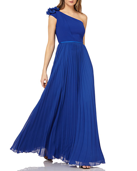 Kay Unger ONE-SHOULDER CHIFFON GOWN W/ PLEATED SKIRT